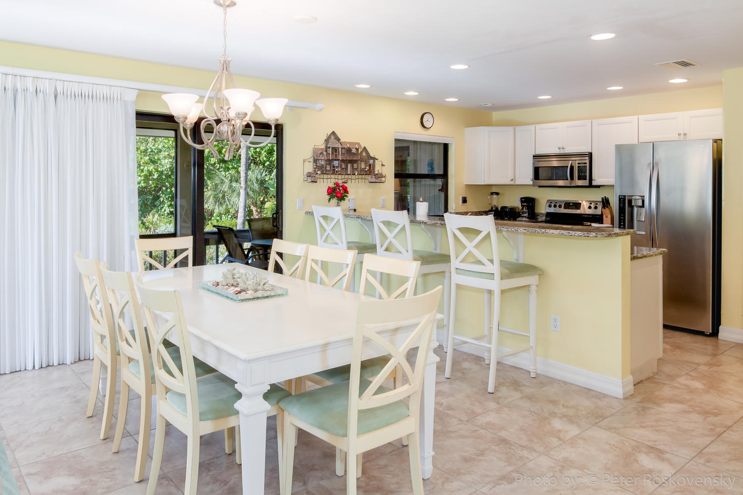 View of Kitchen/Dining Room in Beach Home 2 on Captiva Island Florida