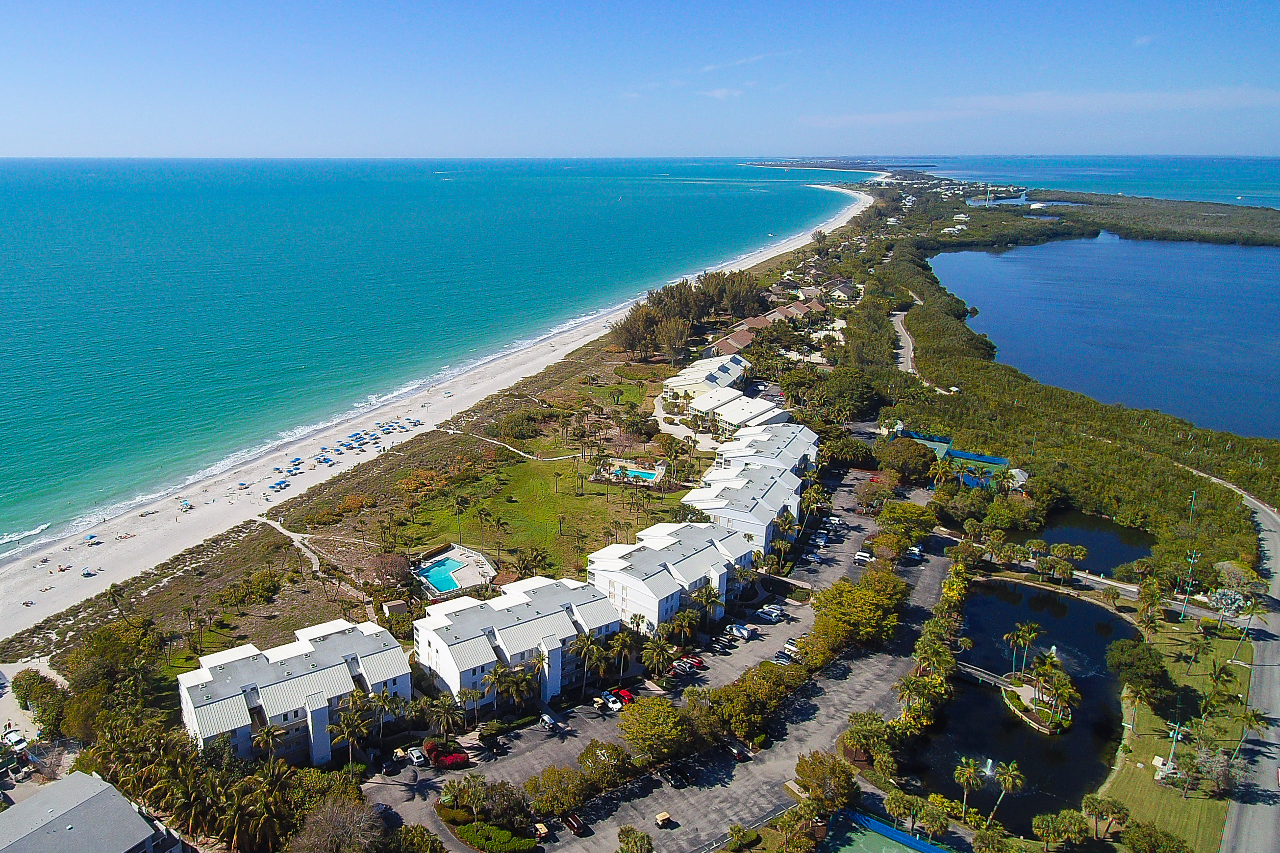 Aerial View of Beach Villas in Captiva Florida at South Seas Island Resort